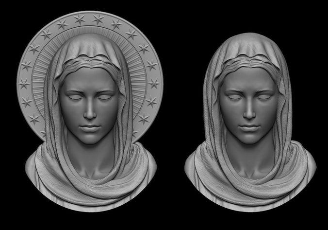 virgin mary pendant 2 versions 3d model obj stl 1