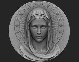 3D printable model jewelry Virgin Mary Medallion no 1