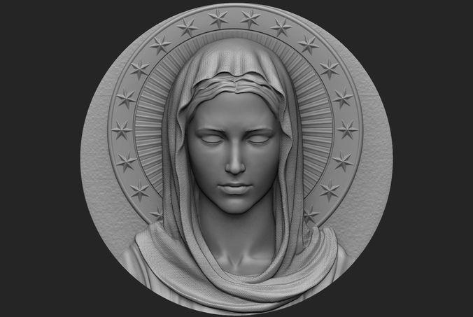 virgin mary medallion no 1 3d model obj mtl stl 1