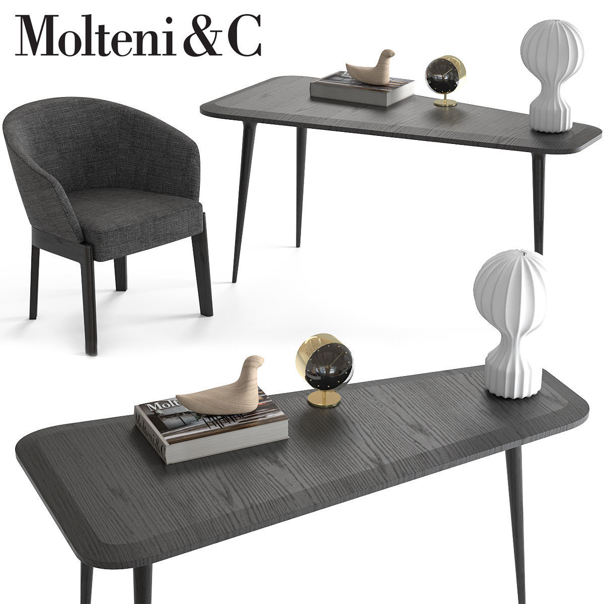 Molteni and C Chelsea Chair and Belsize Table 3D