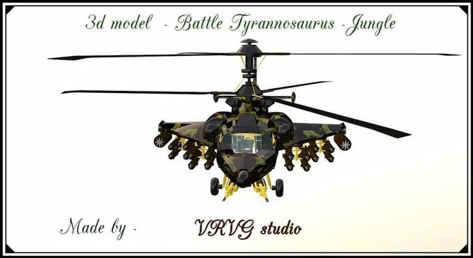 fantasy military helicopter - battle tyrannosaurus - jungle  3d model fbx 1
