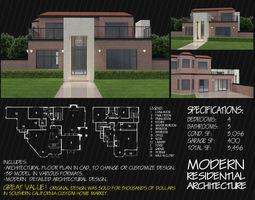 3D model Contemporary brick house modern residential 1