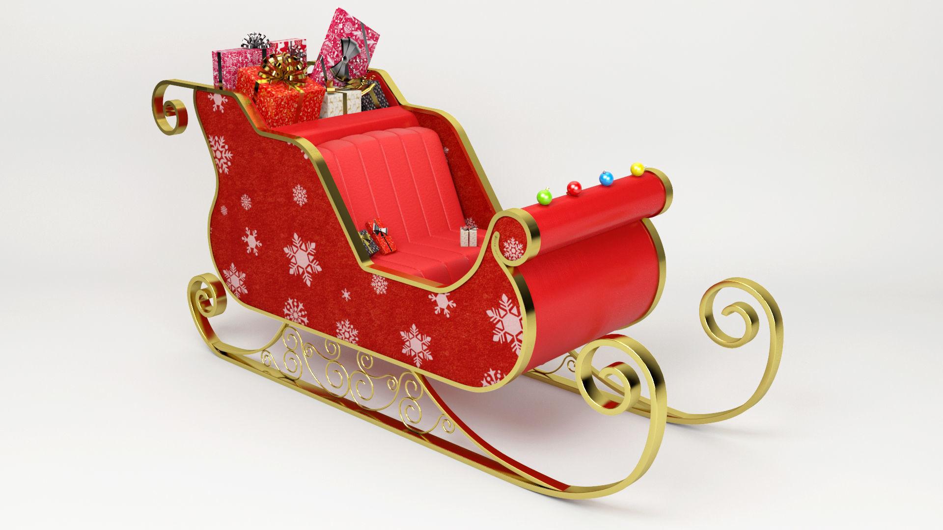 santa claus sled christmas sled chritmas gift 3d model max obj mtl 3ds - Christmas Sled
