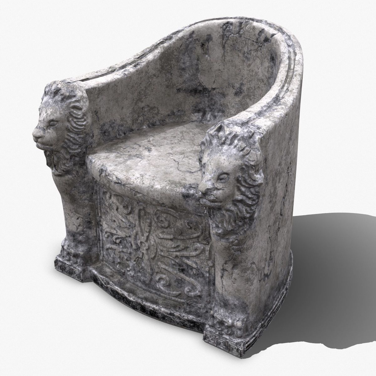 3D Roman Stone Chair High Poly