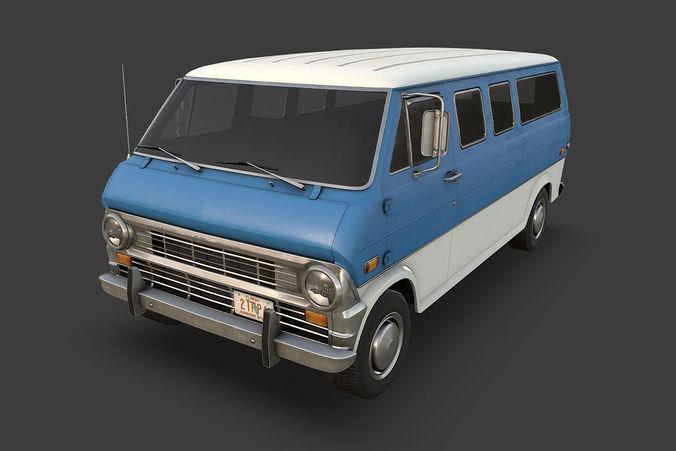 retro van 3d model low-poly max obj mtl fbx tga 1