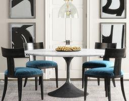 RH Klismos dining set 3D model