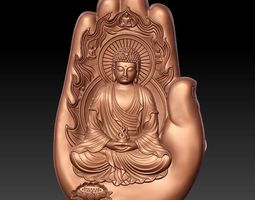 buddha with background of hand 3D model