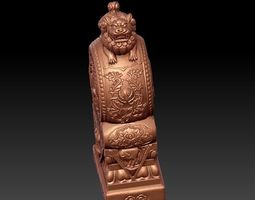 3D model Chinese guardian lion on stone drum