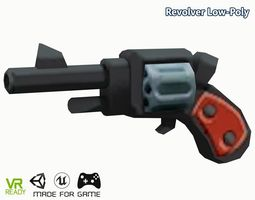 Revolver Low Poly 3D model