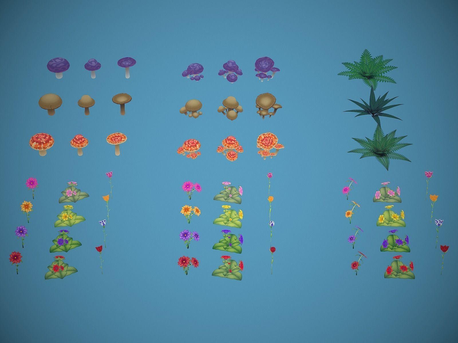 Free Lowpoly Stylized Foliage