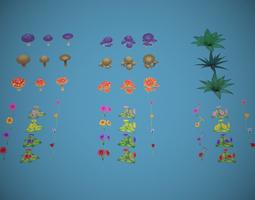3D asset Free Lowpoly Stylized Foliage