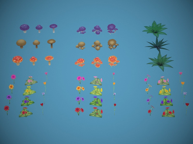 free lowpoly stylized foliage 3d model low-poly obj fbx mtl 1