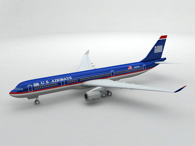 airbus a330 airliner - us airways 3d model max obj 3ds dxf stl wrl wrz 1