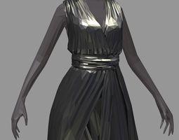 3D asset lowpolyart women summer long black dress high 1