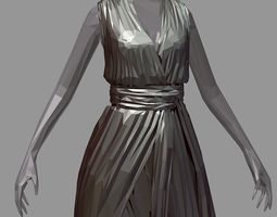 polygonal women summer long black dress white 3D asset 2