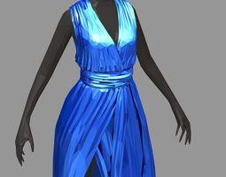 3D asset polygonal women summer long blue dress white 3
