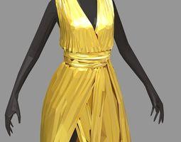 3D asset poly art women summer long gold dress black 2
