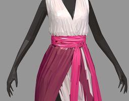 lowpolyart summer long pink dress white high heel 3D model