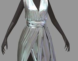 polyart lowpoly long silber dress black high heel 3D asset