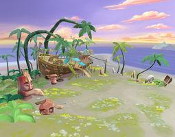 Cartoony Shipwreck Scene 3D asset