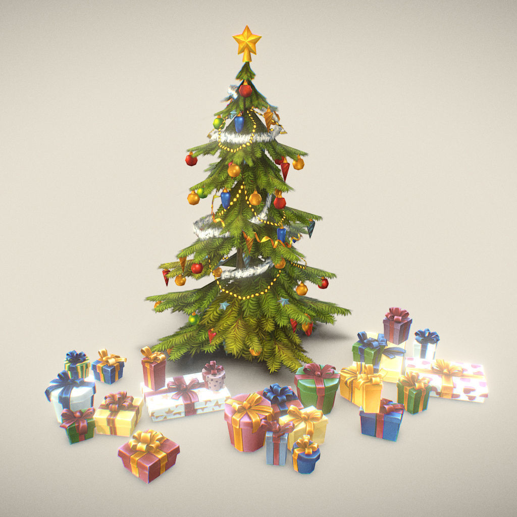 Christmas Tree and Presents - Low Poly Hand Painted