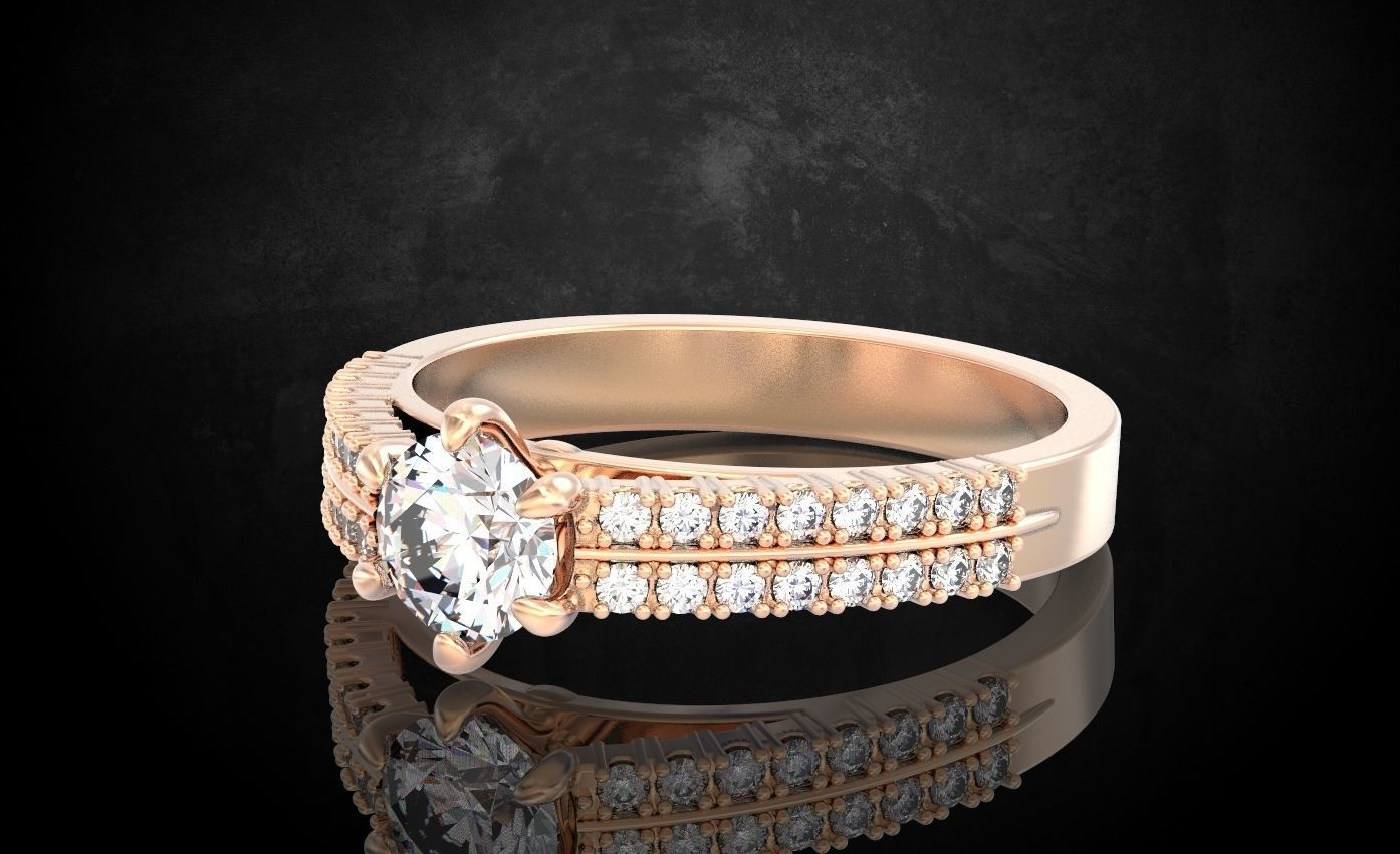 Engagement ring with stones is gentle  258