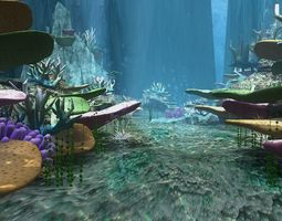 3D Science fiction - seabed - coral group