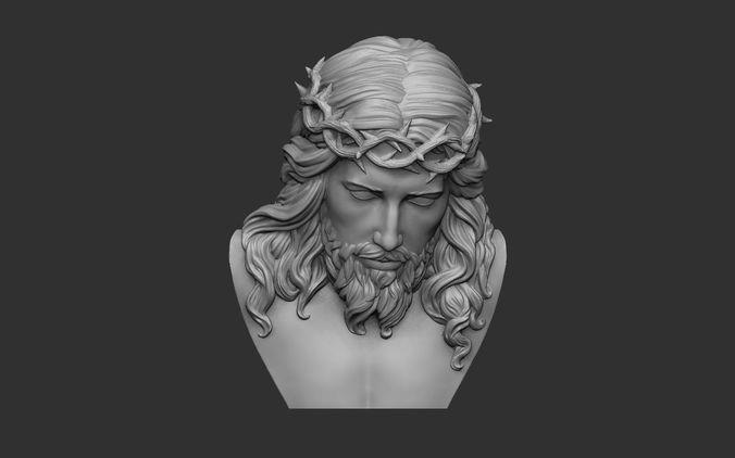 jesus bust relief 3d model obj mtl stl 1