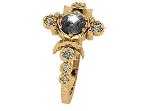 Crescent Black and White Diamond Ring 3D print model