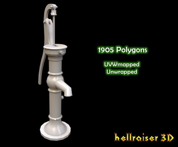water pump 3d model low-poly obj mtl fbx 1