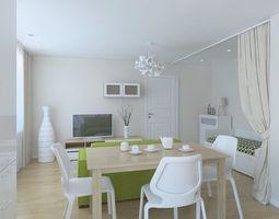 3D model Small apartment living room kitchen