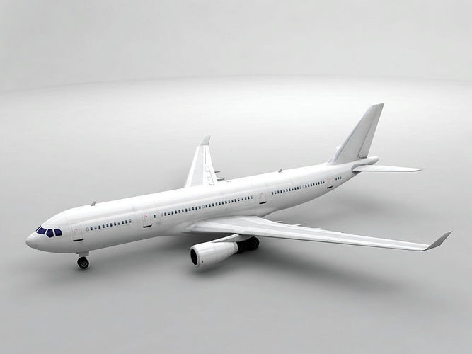 airbus a330-200 airliner - generic white 3d model low-poly max obj 3ds dxf stl wrl wrz 1
