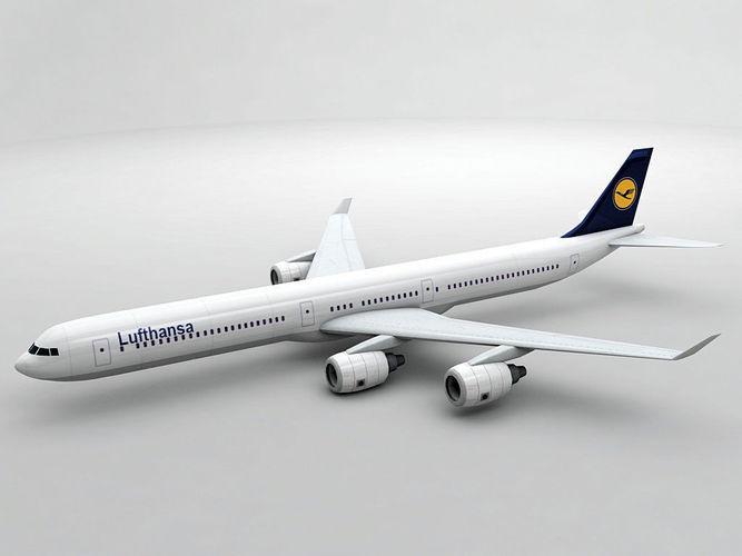 airbus a340-600 - lufthansa 3d model max obj 3ds dxf stl wrl wrz 1