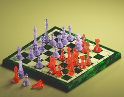 3D model animated glass chess on an emerald board