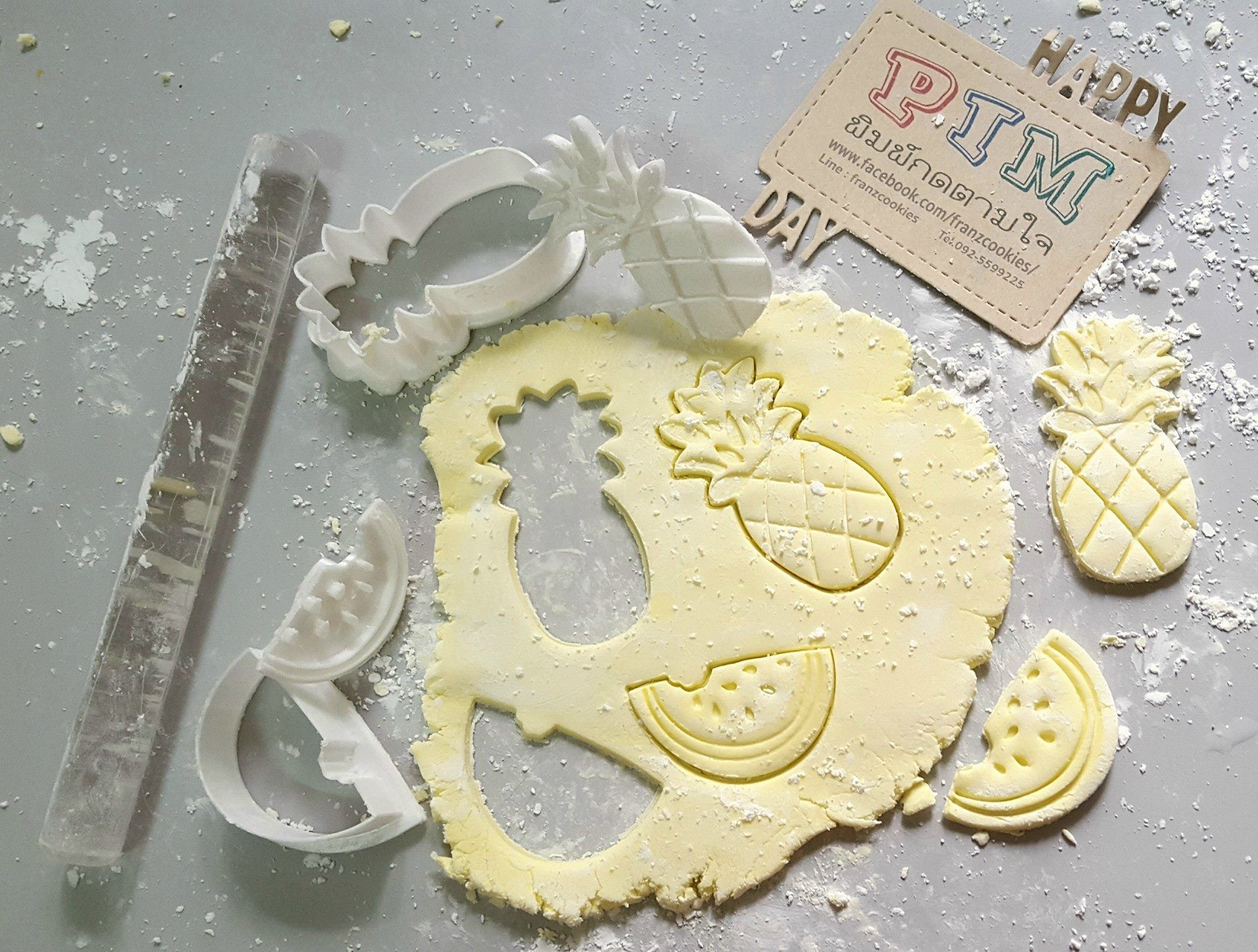pineapple and watermelon cookie cutter with stamp