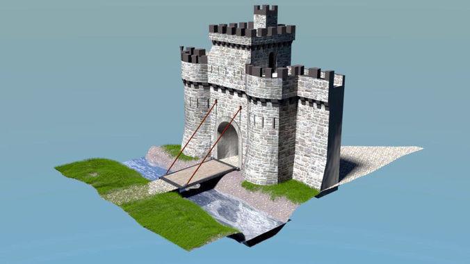castle gate 3d model low-poly obj mtl 3ds blend dae x3d 1