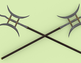 Detailed LowPoly Ji - Chinese Polearm 3D asset