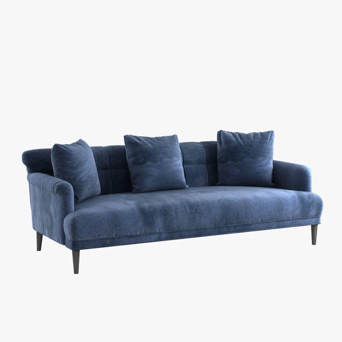Custom made blue velvet sofa with pillows | 3D model