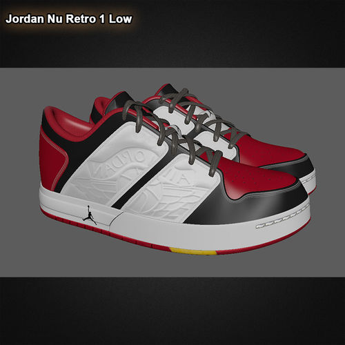 e028853b1edbd3 ... jordan nu retro 1 low red black 3d model obj mtl fbx ma mb 2 ...