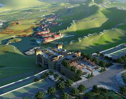 architectural Villa Resort - Entrance 01 3D