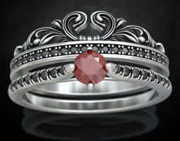Ring with a crown in the form of a heart 3D print model 4