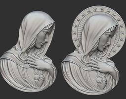 Virgin Mary with Sacred Heart Pendant 3D printable model