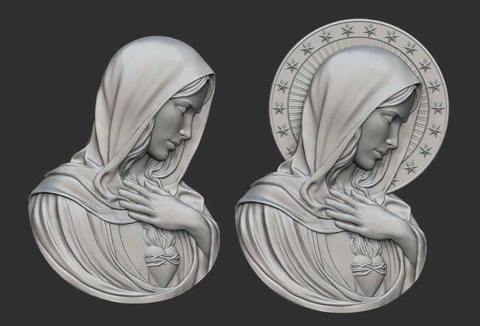 virgin mary with sacred heart pendant 3d model obj mtl stl 1