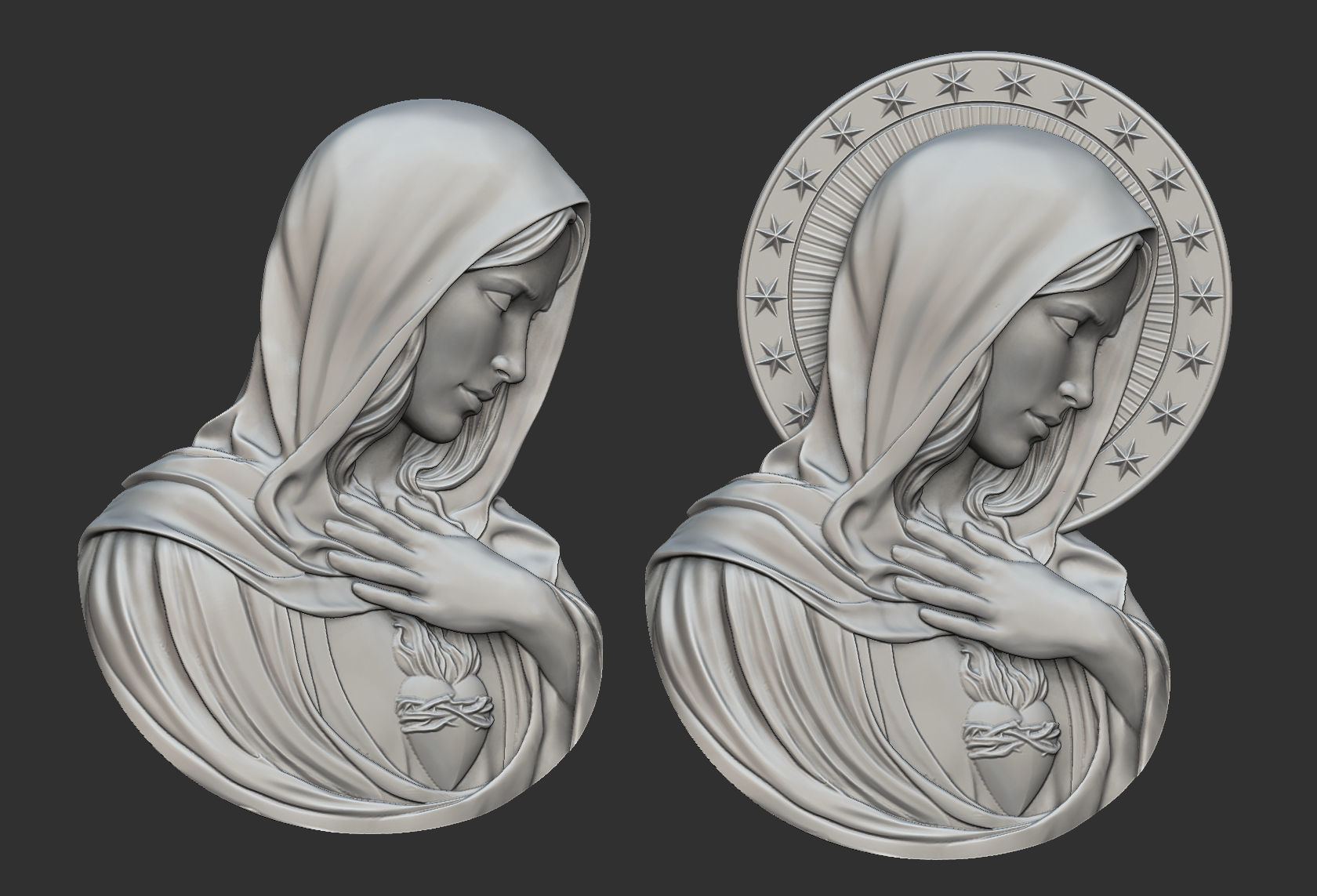 Virgin Mary with Sacred Heart Pendant