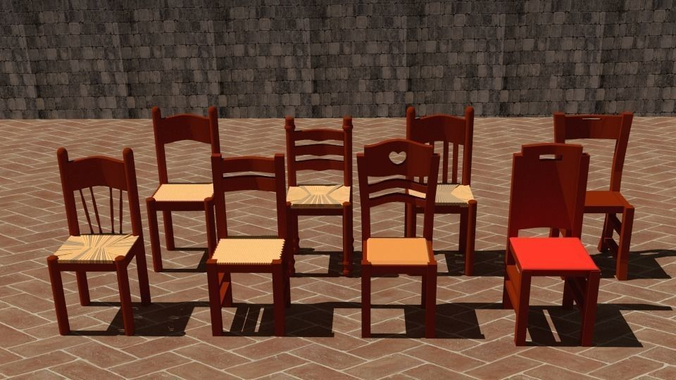 Typical Italian Chairs From A Farmhouse Or Country House 3d Model Low Poly  Obj Mtl ...