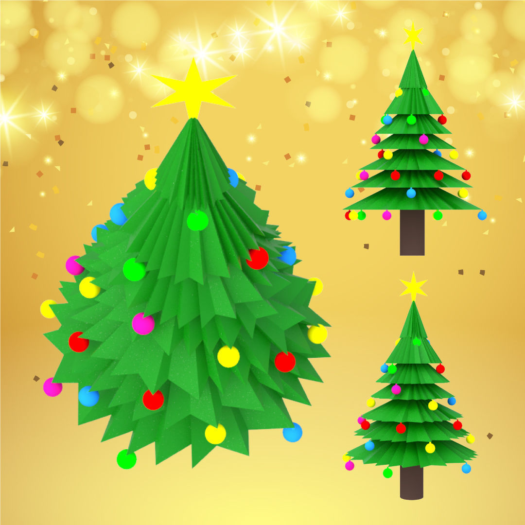 Christmas tree with decorations and star for holiday season