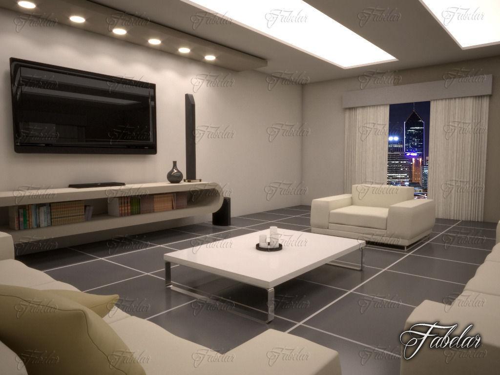 Living Room 10 Night 3d Model Max Obj Fbx C4d Dae