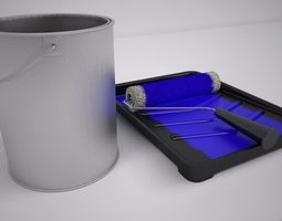 Paint Tray and Roller 3D model