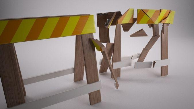 construction barrier 3d model max 1