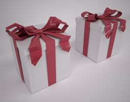gift box with knotted bow 3d model